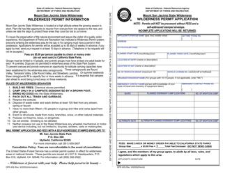 "Form DPR409 ""Wilderness Permit Application - Mount San Jacinto State Wilderness"" - California"