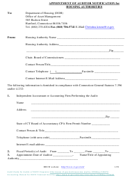 """""""Appointment of Auditor Notification for Housing Authorities"""" - Connecticut"""