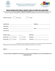 """Trhap Mandatory Direct Deposit Sign-Up Form for Landlords"" - Connecticut"