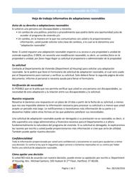 """Formulario CT811 """"Formulario De Adaptacion Razonable"""" - Connecticut (Spanish)"""