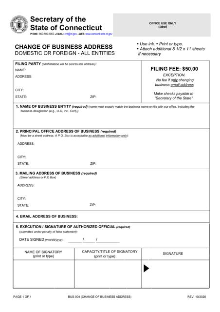 Form BUS-004  Printable Pdf