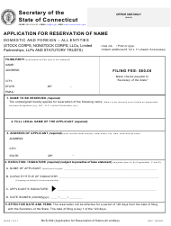 "Form BUS-002 ""Application for Reservation of Name Domestic and Foreign - All Entities"" - Connecticut"