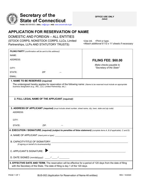 Form BUS-002  Printable Pdf