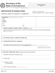 "Form BUS-035 ""Certificate of Dissolution - Limited Liability Company - Domestic"" - Connecticut"