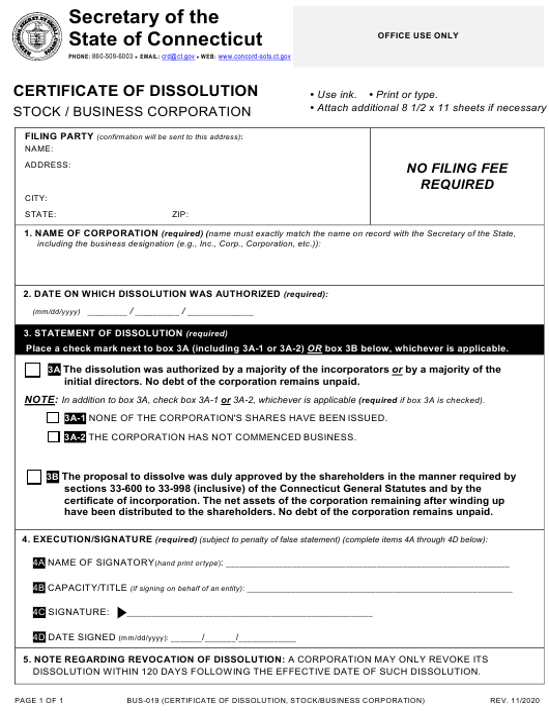 Form BUS-019  Printable Pdf