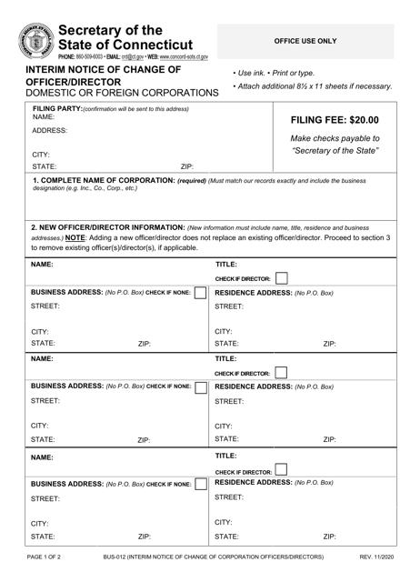 Form BUS-012  Printable Pdf