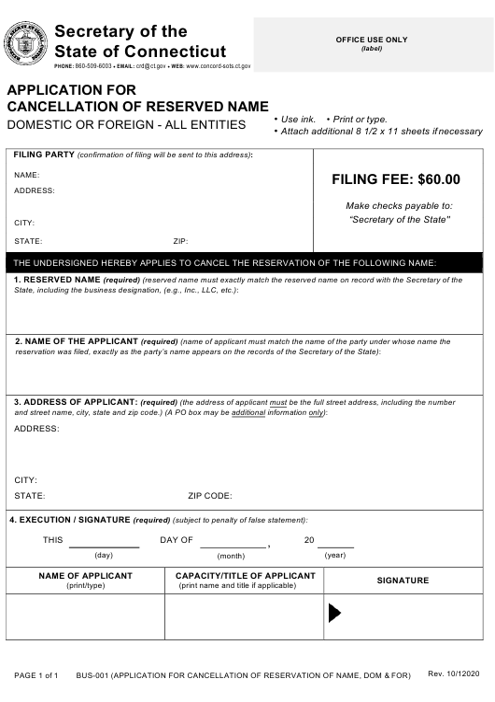 Form BUS-001  Printable Pdf