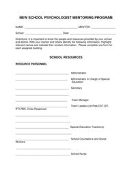 """""""School Resources Form"""" - Delaware"""