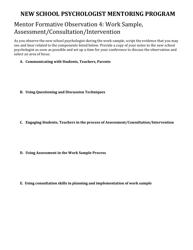"""""""Mentor Formative Observation 4: Work Sample, Assessment/Consultation/Intervention"""" - Delaware"""