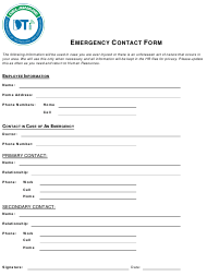 """""""Emergency Contact Form"""" - Delaware"""