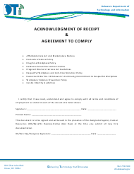 """""""Acknowledgment of Receipt & Agreement to Comply"""" - Delaware"""