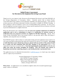 """""""Initial Project Assessment for Downtown Development Revolving Loan Fund"""" - Georgia (United States)"""