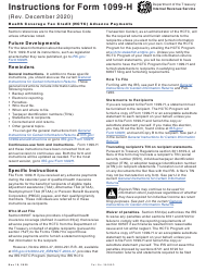 """Instructions for IRS Form 1099-H """"Health Coverage Tax Credit (Hctc) Advance Payments"""""""