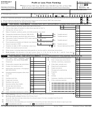 """IRS Form 1040 Schedule F """"Profit or Loss From Farming"""", 2020"""