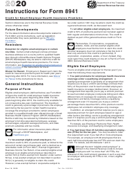 """Instructions for IRS Form 8941 """"Credit for Small Employer Health Insurance Premiums"""", 2020"""