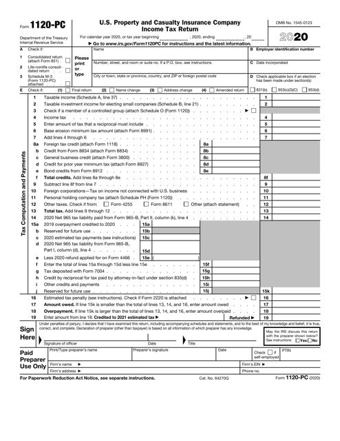 IRS Form 1120-PC 2020 Printable Pdf