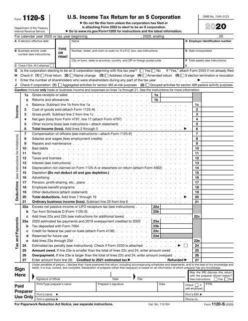 IRS Form 1120-S 2020 Printable Pdf