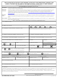 "DA Form 1058 ""Application for Active Duty for Training, Active Duty for Operational Support, and Annual Training for Soldiers of the Army National Guard and U.S. Army Reserve"""