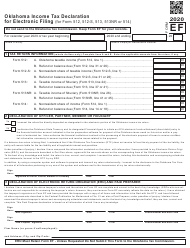 """Form EF """"Oklahoma Income Tax Declaration for Electronic Filing (For Form 512, 512-s, 513, 513-nr or 514)"""" - Oklahoma, 2020"""