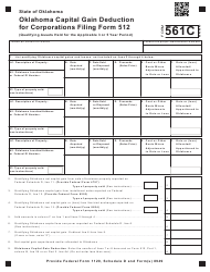 "Form 561C ""Oklahoma Capital Gain Deduction for Corporations Filing Form 512"" - Oklahoma"