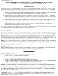 """Form 561C """"Oklahoma Capital Gain Deduction for Corporations Filing Form 512"""" - Oklahoma, Page 2"""