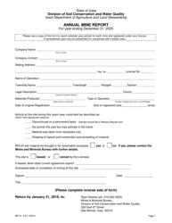 """Form MP-01 """"Annual Mine Report"""" - Iowa, 2020"""