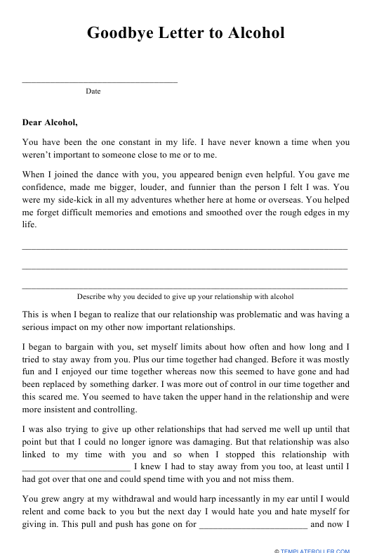 """""""Goodbye Letter to Alcohol Template"""" Download Pdf"""