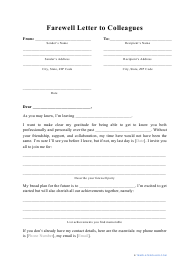 """""""Farewell Letter to Colleagues Template"""""""