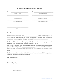 """""""Church Donation Letter Template"""""""