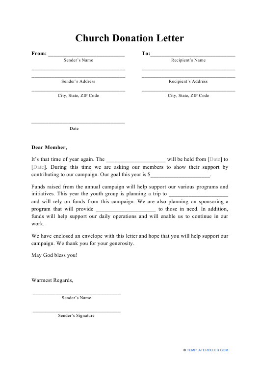 """Church Donation Letter Template"" Download Pdf"