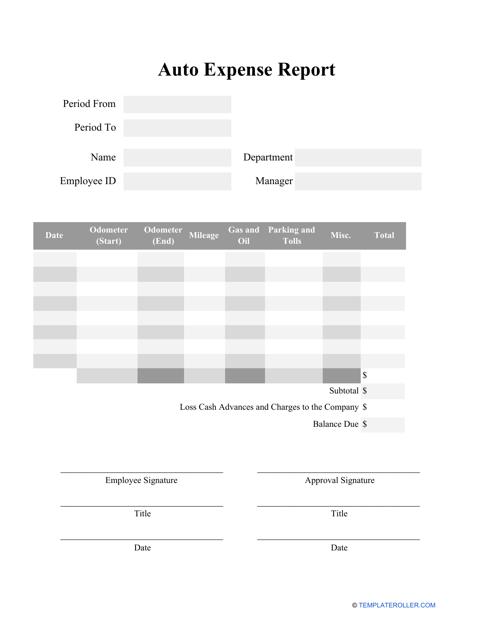 """Auto Expense Report Template"" Download Pdf"
