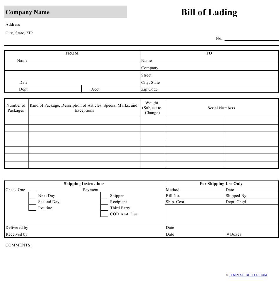 Bill Of Lading Template Download Printable Pdf Templateroller