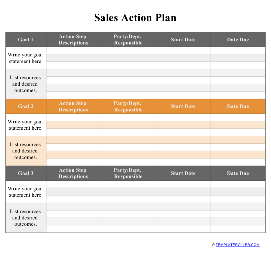 Sales Action Plan Template Download Printable Pdf Templateroller