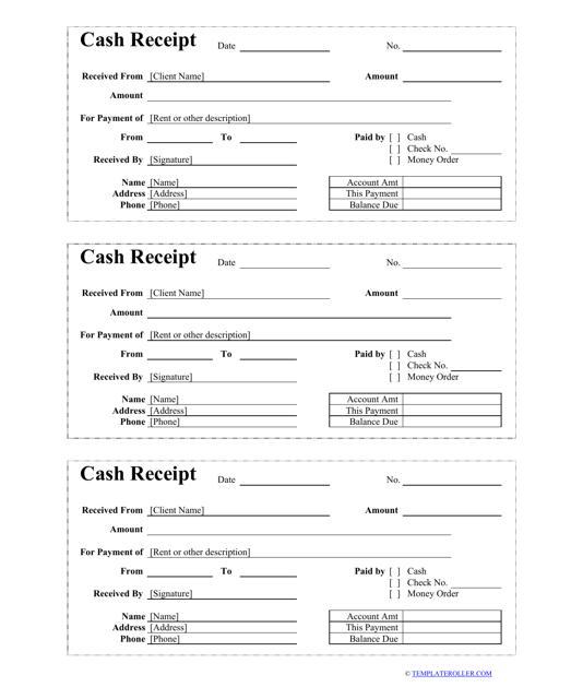 """""""Cash Receipt Template"""" Download Pdf"""