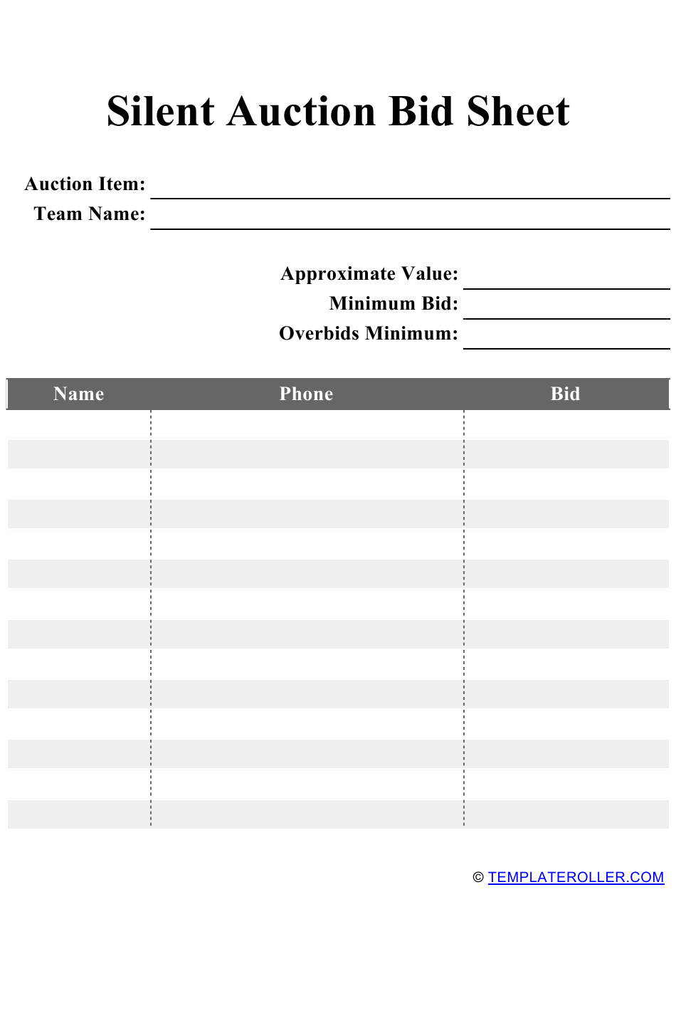 Silent Auction Bid Sheet Template Download Printable PDF Pertaining To Auction Bid Cards Template