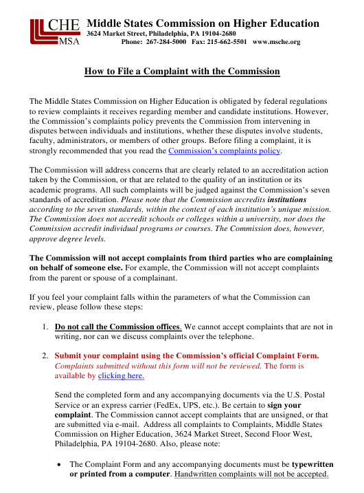 """""""How to File a Complaint With the Commission - Middle States Commission on Higher Education"""" Download Pdf"""