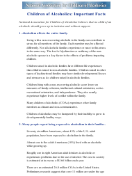 """""""Children of Alcoholics: Important Fact - National Association for Children of Alcoholics"""""""