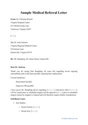 """Sample """"Medical Referral Letter"""""""