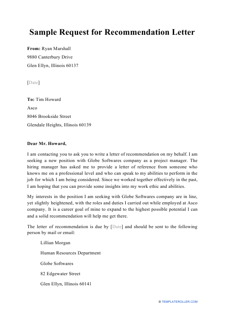 "Sample ""Request for Recommendation Letter"" Download Pdf"