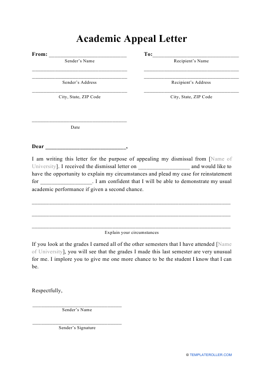 """""""Academic Appeal Letter Template"""" Download Pdf"""