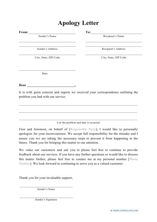 """Apology Letter Template"" Download Pdf"