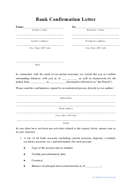 """Bank Confirmation Letter Template"""