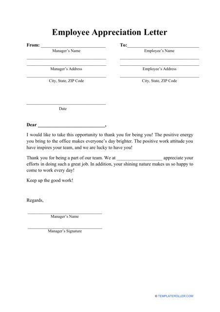 """Employee Appreciation Letter Template"" Download Pdf"