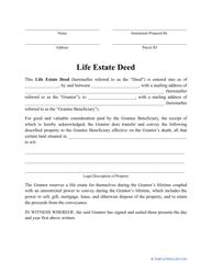 """Life Estate Deed Form"""