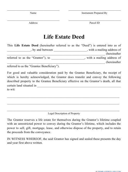"""Life Estate Deed Form"" Download Pdf"