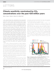 """""""Climate Sensitivity Constrained by Co2 Concentrations Over the Past 420 Million Years"""""""