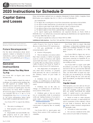 """Instructions for IRS Form 1040 Schedule D """"Capital Gains and Losses"""", 2020"""