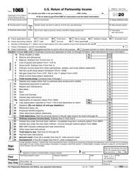 "IRS Form 1065 ""U.S. Return of Partnership Income"", 2020"