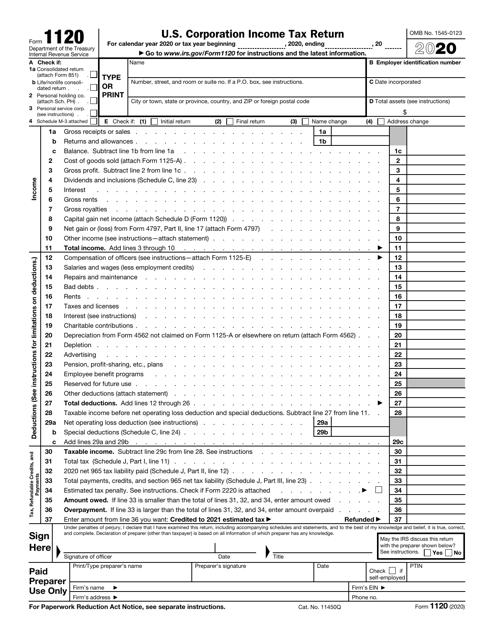 IRS Form 1120 2020 Printable Pdf