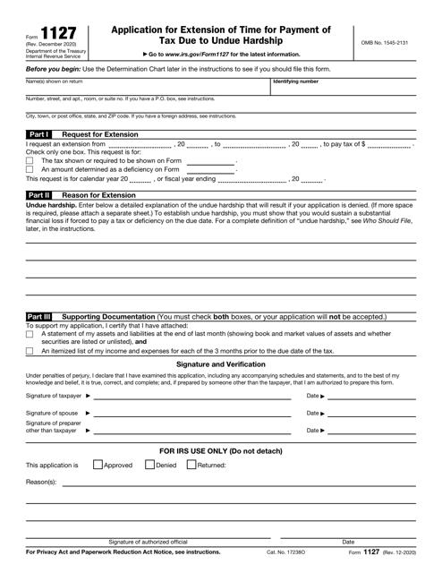 IRS Form 1127 Printable Pdf